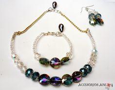 Juego de Collar, Pulsera y Aretes de cristales bañados en Swarovski #Elegancia