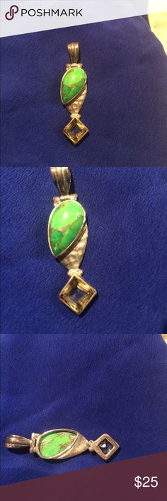 GASPEITE AUSTRALIAN & CITRINE STERLING SILVER PEND This stunning necklace pendant is about an inch and a half long and stamped Nine2five. This is very rare stone is called GASPEITE and the other I believe is citrine. Not 100% sure on that though. This super cool green stone comes from Australia. It is eye-catching and again looks amazing with a tan Jewelry Necklaces