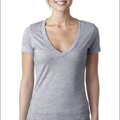Grey v neck Thanks for the follow.! Check out my BOGO sale Tops Tees - Short Sleeve
