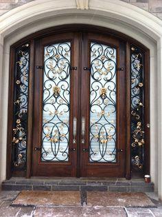 Wrought Iron Design Custom Wrought Iron Accessories Ornamental Iron Home Decor - Stylehive Iron Front Door, Front Doors, Tor Design, Modern Exterior Doors, Exterior Design, Door Gate Design, Wrought Iron Doors, Cool Doors, Iron Decor