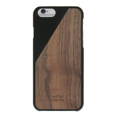 Native Union CLIC Wooden Case for iPhone 6, iPhone 6s - Handcrafted Real Walnut Wood Protective Slim Cover (Black)