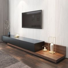 Tv Console Design, Tv Stand Console, Tv Wall Design, Tv Console Modern, Floating Tv Console, Floating Tv Stand, Tv Stand On Wall, Tv On Wall, Floating Media Cabinet