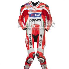 Ducati Corse Motorcycle Motogp 2012 Nickey Hayden Leather SuitDucati Corse Motorcycle Motogp 2012 Nickey Hayden Leather Suit - Pre-curved sleeves for proper riding position, Dual stitched main seams for excellent tear resistance, Nylon Stitched, Leather Patches throughout the Body shell, This suit f