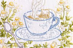 It's time for tea and stitching with these 10 hand embroidery patterns, each featuring teacups and other tea party settings.