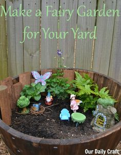 Make a fun fairy garden for your kids to play with in the yard. So easy and cute!