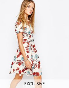 Glamorous | Glamorous Wrap Front Tea Dress in Vintage Floral at ASOS