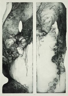 Blow Yukie Nakano 2004 Etching/aquatint Fabulous textures... and the blue/grey ink tone is wonderful.