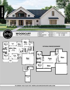 1 Story Modern Farmhouse Plan | Woodcliff