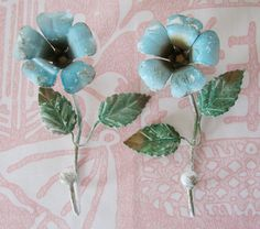 PAIR of Vintage Neiman-Marcus Tole Flower Hooks from billysbungalow