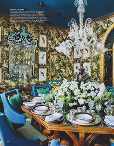 Gorgeous blues and a statement chandelier in Vasundhara Raje's Delhi Home