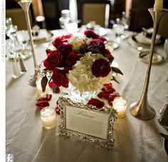 And I like this idea of having different flowers at each table: