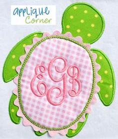 Turtle Applique Design with ric rac around shell many other applique on this site, and hooded towels