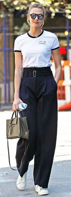 Fashion Faceoff | People - Karlie Kloss in a La Ligne t-shirt and high-waisted black pants