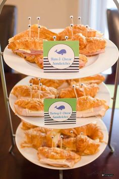 Crab croissant sandwiches at an under the sea birthday party! See more party ideas at