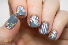 Pastel Flowers on Grey