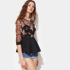 Sexy Blouses for Women Black Three Quarter Length Sleeve Flower Embroidered Mesh Overlay 2 In 1 Peplum Top