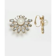 Designsix Clip On Statement Earrings (15 CAD) ❤ liked on Polyvore featuring jewelry, earrings, pearlgold and statement earrings