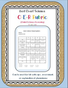 BEST Science CER Rubric for grades 6-8. Claim Evidence Reasoning format for assessment, lab reports, and writing about phenomena.