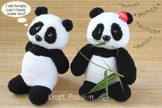 Pandas are so adorable. If you are fond of collecting panda stuffs, try to make this cute project. A perfect gift for some panda lovers, too! Check out this sock panda. Sewing Stuffed Animals, Stuffed Animal Patterns, Sock Crafts, Fabric Crafts, Sewing Patterns Free, Free Sewing, Free Pattern, Sock Toys, Sock Animals