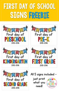 Free First Day of School Signs! Includes Preschool, Pre-K, Kindergarten, First Grade, and Second Grade.