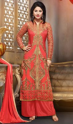 $33.85 Hina Khan Salmon Georgette Palazzo Style Suit 56218