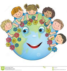 Children Hugging Planet Earth Stock Illustration - Image: 40648701