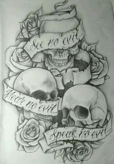 See no evil, Hear no evil, Speak no evil skull tattoo design . - See no evil, Hear no evil, Speak no evil skull tattoo design More You are in the right place abo - Evil Skull Tattoo, Evil Tattoos, Skull Tattoo Design, Skull Design, Tatoos, Girly Skull Tattoos, Skull Sleeve Tattoos, Rosary Tattoos, Crown Tattoos