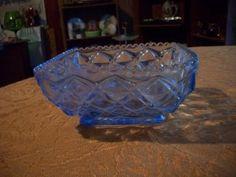 blue depression glass bowl