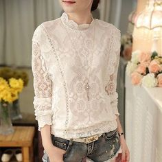 7aeab40222ecb Women Flounced White Hollow Lace Blouse Stand Collar Long Sleeve T Shirt  Tops