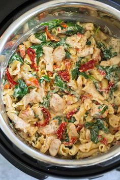 great recipe, threw some garlic and mushrooms in too! Tuscan Chicken Pasta, Pampered Chef Recipes, Pasta Salad, Potato Salad, Cooker, Chicken Recipes, Easy Meals, Crab Pasta Salad, Ground Chicken Recipes