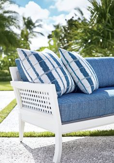 Thibaut New Soltice Collection of Sunbrella Indoor/Outdoor fabrics - Kenzie on Cushion and Suki on Pillows (come in other colors) Patio Furniture Cushions, Lawn Furniture, Fine Furniture, Outdoor Furniture, Outdoor Fabric, Outdoor Spaces, Outdoor Chairs, Outdoor Decor, Indoor Outdoor