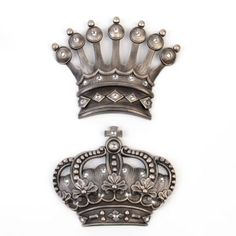 Charming His/Her Crown Silver Jeweled Wall Plaque, Set Of 2