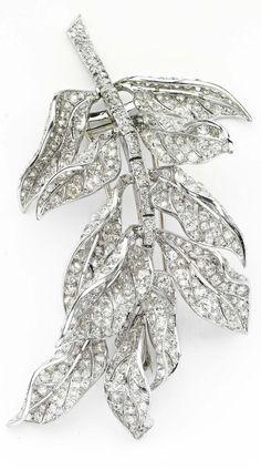 Platinum and diamond brooch by Paul Flato, circa 1930s. Exhibited by Primavera Gallery.