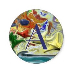 """""""By the sea"""" - Abstract Design Classic Round Sticker. Change the letter to your own initial. Cool gifts with many uses."""