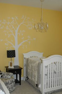 Yellow walls with black and white French Toile accessories