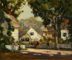 """""""A Sun Dappled Rockport Street Scene with Figures,"""" Anthony Thieme, oil on canvas, 19-3/4 x 24"""", private collection."""
