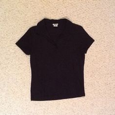 Old Navy Black Collared Shirt Great condition. V collar no buttons - small pocket on left breast. Old Navy Tops