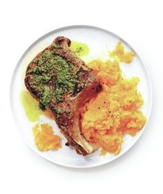 <p>Seared Pork Chops and Pesto With Mashed Squash</p>