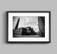 Black and white landscape photograph of Industrial Manchester / urban / street / cityscape / wall art / home decor / photography