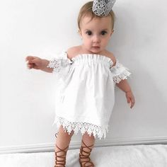 2017 New Casual Kids Toddler Baby Girl Princess Party Lace Top Dress Tee Dresses Shoulder Off Sundress M8 #Affiliate