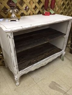 Old TV Console Converted Into White Cabinet With Pallet Wood