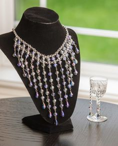 Crystal and Chain Bib Necklace