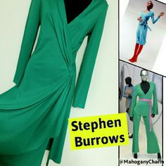 "Rare Vintage Stephen Burrows ""Fashion Icon"" Own a piece of fashion history!  Beautiful vintage Stephen Burrows jersey dress in a vibrant green with his signature lettuce hem in green!   Mr. Burrows is noted for his jersey knit dresses that are full of color and dance with your body! ...Studio 54 Disco days!!!  He is... ~1st African American fash designer to gain international acclaim. ~1of 5 American designers to show at Versailles ~3 time Coty Award winner ~and on & on.... Circa 70's…"