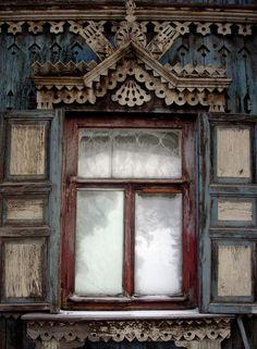 Beautiful hand-carved window, Krasnoyarsk, Russia