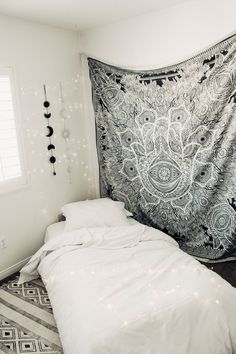 Lady Scorpio   @Ladyscorpio101 ☽☽ ladyscorpio101.com ☆ Perfect Bedroom Decor for the Hippie at heart ♡ Shop Lady Scorpio for the ultimate stocking stuffers for the Holidays! Black & White themed room with Sun & Moon Phase Wall Hangings   Hamsa Divine Mandala Tapestry
