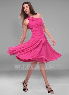 Bridesmaid Dresses - $94.99 - A-Line/Princess One-Shoulder Knee-Length Chiffon Bridesmaid Dress With Ruffle (007020721) http://jjshouse.com/A-Line-Princess-One-Shoulder-Knee-Length-Chiffon-Bridesmaid-Dress-With-Ruffle-007020721-g20721
