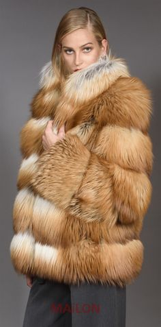 SAGA Gold Fox Fur Jacket - Size Medium