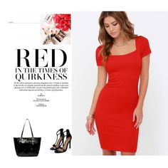 Red by aminahadzic5 on Polyvore featuring Lulu*s and Boohoo