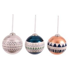 Winter Foiled Pattern Ball Christmas Ornament (Assorted Styles) - Wondershop™