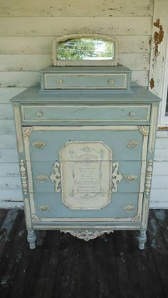 9 Easy Ways To Add Simple But Effective Decoration Deisgn Style - soft blue and creamy white dresser The Best of shabby chic in Old Furniture, Hand Painted Furniture, Paint Furniture, Plywood Furniture, Distressed Furniture, Repurposed Furniture, Shabby Chic Furniture, Furniture Makeover, Vintage Furniture